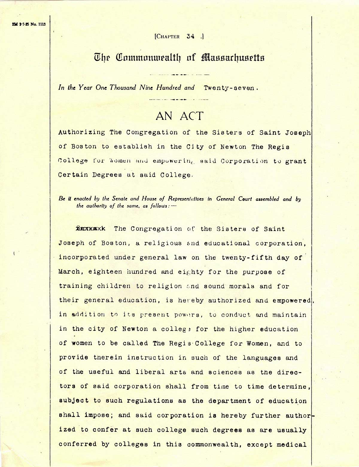 The original Regis College charter 1927
