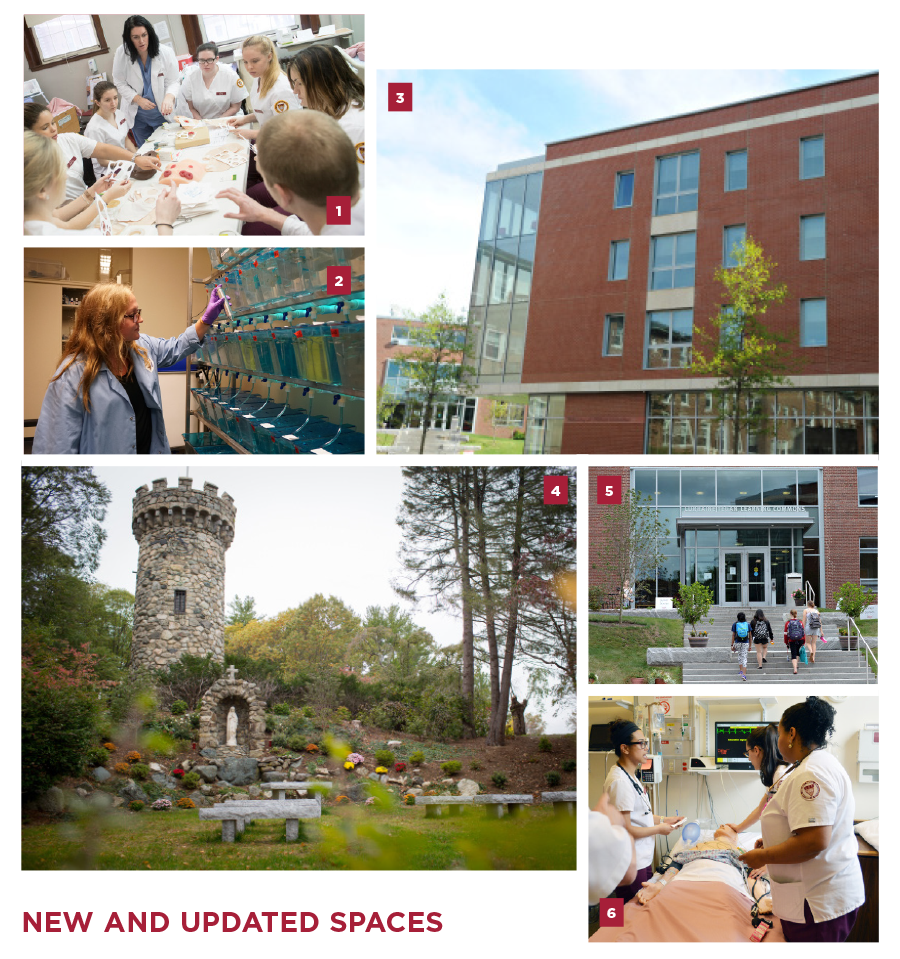 Collage of numbered photos titled 'New and Updated Spaces' - 1) nursing students gathered around a table, 2) A woman in a lab coat inspects zebrafish tanks, 3) the Maria Hall Extension, 4) the Grotto with the Norman Tower in the background, 5) students walk up the steps to the Learning Commons, 6) nursing students gathered around a practice mannequin - detailed descriptions follow