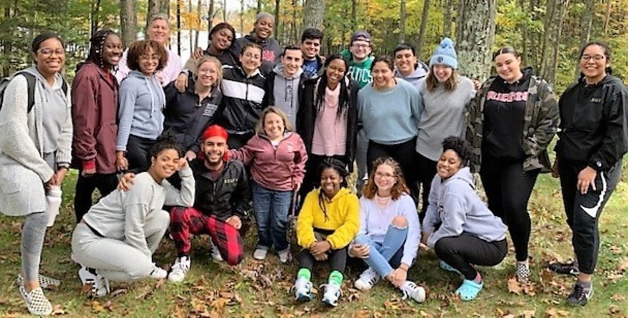 Attendees at the 2019 Kairos retreat pose for the camera