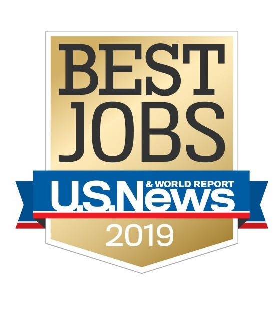 Shield Logo that says Best Jobs, US New Report, 2019