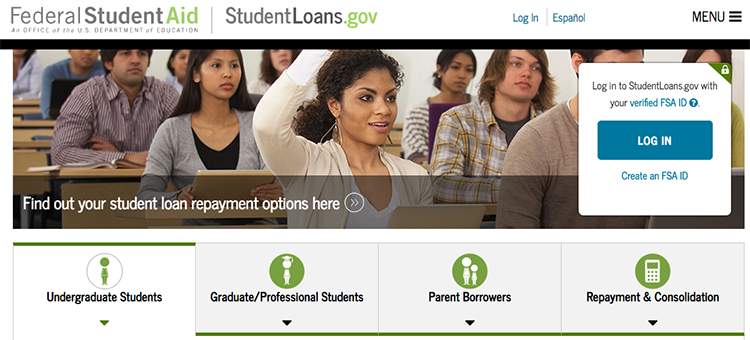 Screenshot of the studentloans.gov portal