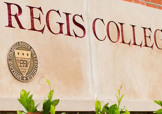 Regis College front drive sign