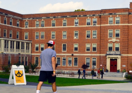 A photo of St. Joseph Hall taken from the Quad