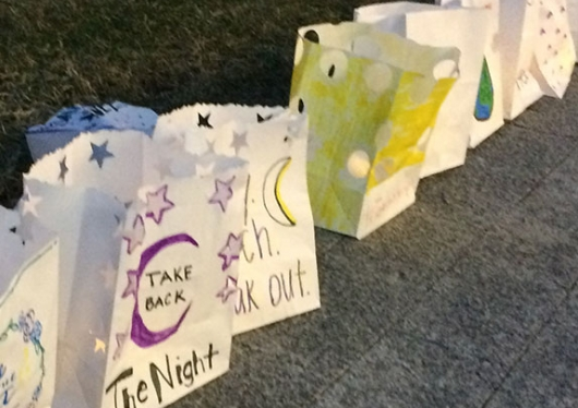 Paper bags used in take back the night demonstration on Regis College campus