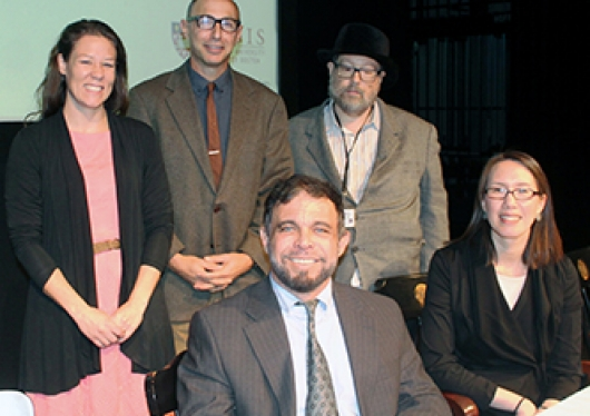 The panel of mental health experts pose before the lecture