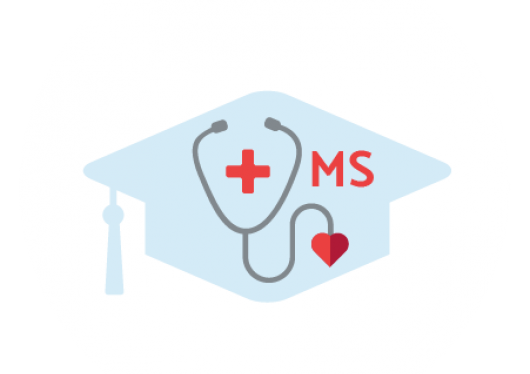 "Drawing of a stethoscope with a red cross on a blue graduation cap shaped background with ""MS"" beside it"