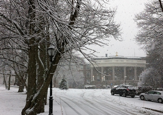 College Hall in snowstorm