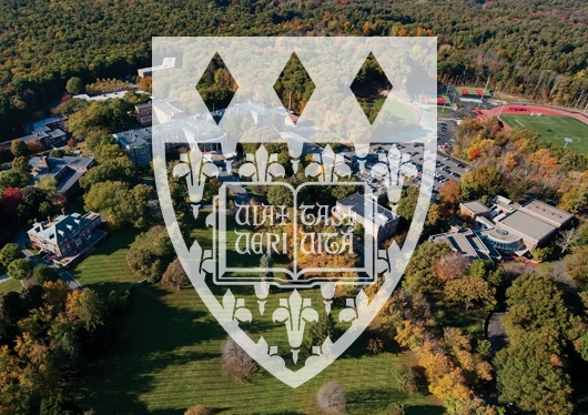 Regis College shield overlaid on an aerial photo of Regis' Weston campus
