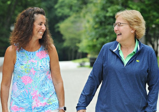 'KT gave me the gift of life.' —Donna Tanner, EdD (right), on kidney donor Kathleen Thompson '91 (left).