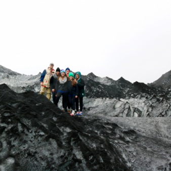 Photo of ABA students on a mountain in Iceland