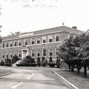 A black and white photo of the science building