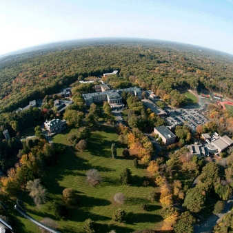 Aerial view of Regis College centered on College Hall