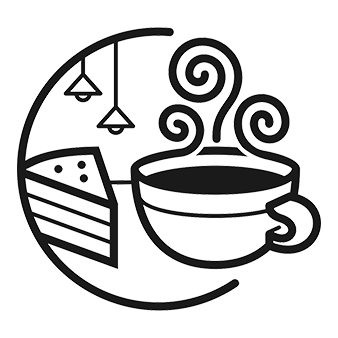 Line drawing of a slice of pie and a steaming mug of coffee inside a circle