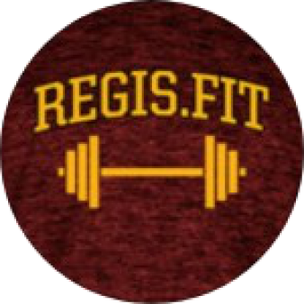 """Regis Fit"" over a drawing of a set of weights"
