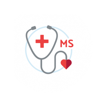 "Drawing of a stethoscope with a red cross on a blue circle in the background with ""MS"" beside it"