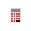Drawing of a calculator with red buttons