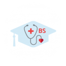 "Drawing of a stethoscope with a red cross on a blue graduation cap shaped background with ""BS"" beside it"