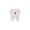 Drawing of a tooth with a red medical cross on a blue circular background in the center