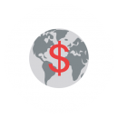 Drawing of the planet Earth with an US dollar sign on it