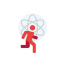 Drawing of a red running silhouette with an atom in the background with the person's head in place of the nucleus