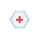 Drawing of a red cross on a blue hexagram