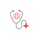 Drawing of a stethoscope with a red cross on the end and an atom between the earpieces
