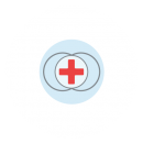 A red cross on a white background with two interlocking circles behind it all on a blue circular background