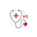 "Drawing of a stethoscope with a red cross on a blue circular background with ""MS"" beside it"