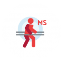 "Drawing of a person on parallel bars with a blue circle background and the letters ""MS"" beside it"