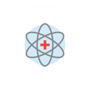 Drawing of an atom with a red cross in place of the nucleus on a blue circular background