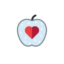 Drawing of an apple sliced vertically in half with a red heart in the center