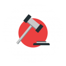 Drawing of a gavel on a red circular background