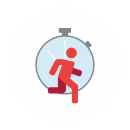 Drawing of a silhouette of a person running with a stopwatch in the background