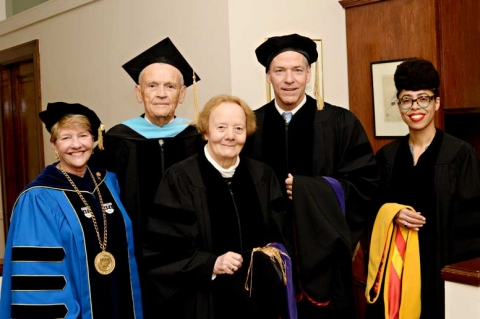 From left to right: President Hays, Chair of the Regis Board of Trustees John Tegan, St. Consilio, Mr. Fish and Dr. Ford.