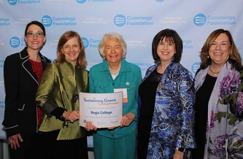Shawna Erickson, Dean of Nursing Diane Welsh, The Honorable Carol Donovan '59, Mary Lou Cullen and Pat McCauley pose with the Sustaining Grants certificate.