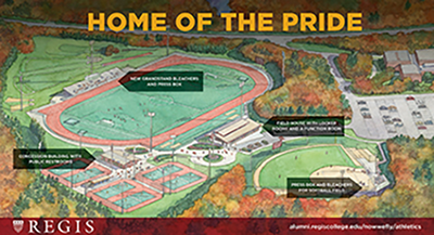Regis College launched an ambitious fundraising campaign for a state-of-the-art field house and additional amenities designed to support its outdoor sports teams and athletes.
