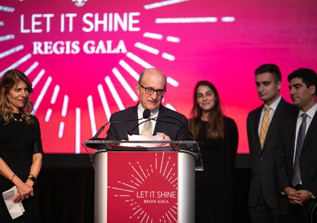 Marshall Sloane's son, Barry, speaks at the 2019 Let It Shine gala.
