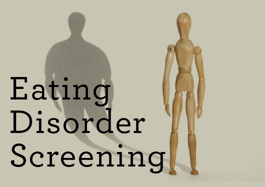 "Text: ""Eating Disorder Screening"" with a figure standing as it's shadow perceives larger than its actual size."