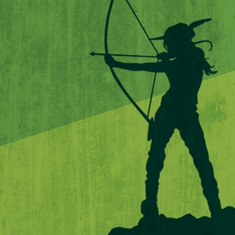 Silhouette of Marian drawing a bow with a green background